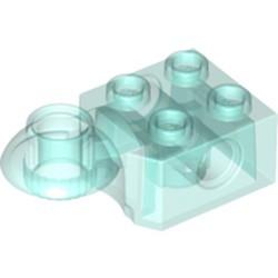 Trans-Light Blue Technic, Brick Modified 2 x 2 with Pin Hole, Rotation Joint Ball Half (Horizontal Top)