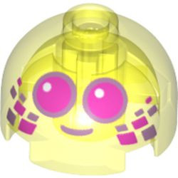 Trans-Neon Green Brick, Round 2 x 2 Dome Top with Dark Pink Eyes with Metallic Pink Outlines and Mouth Pattern