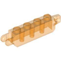 Trans-Orange Hinge Brick 1 x 4 Locking with 1 Finger Vertical End and 2 Fingers Vertical End, 9 Teeth