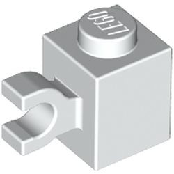 White Brick, Modified 1 x 1 with Clip (Horizontal Grip) - used