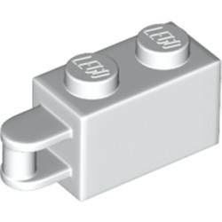 White Brick, Modified 1 x 2 with Bar Handle on End - Bar Flush with Edge