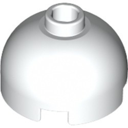 White Brick, Round 2 x 2 Dome Top - Blocked Open Stud with Bottom Axle Holder x Shape + Orientation - used