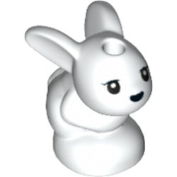 White Bunny / Rabbit, Friends, Baby, Sitting with Black Eyes and Nose Pattern (Chili / Mini / Minu) - new