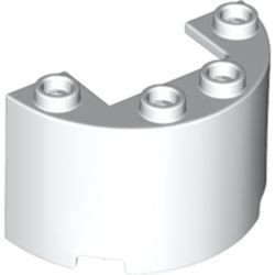 White Cylinder Half 2 x 4 x 2 with 1 x 2 Cutout