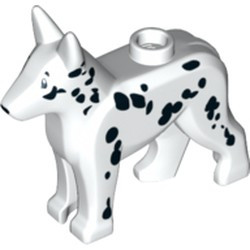 White Dog, Alsatian / German Shepherd with Black Eyes, Nose and Spots Pattern - new