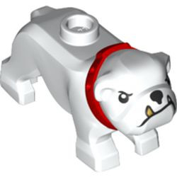 White Dog, Bulldog with Black Eyes, Nose and Mouth, Gold Tooth, and Red Collar Pattern