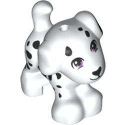 White Dog, Friends, Puppy, Standing with Medium Lavender Eyes, Black Nose, Mouth, and Spots Pattern (Cookie) - used