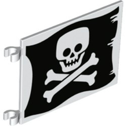 White Flag 6 x 4 with Flat Skull and Crossbones (Jolly Roger) Pattern on Both Sides - new