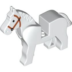 White Horse with Black Eyes, White Pupils and Dark Orange Bridle Pattern - used