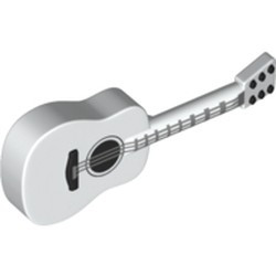 White Minifigure, Utensil Guitar Acoustic with Silver Strings, Black Tuning Knobs Pattern