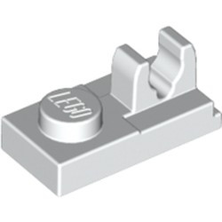 White Plate, Modified 1 x 2 with Clip on Top - used