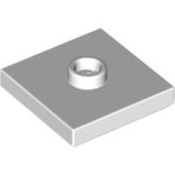 White Plate, Modified 2 x 2 with Groove and 1 Stud in Center (Jumper) - new