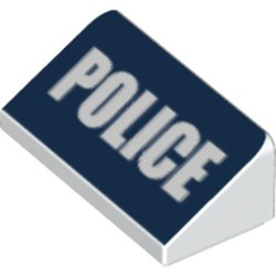 White Slope 30 1 x 2 x 2/3 with White 'POLICE' on Dark Blue Background Pattern