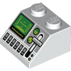 White Slope 45 2 x 2 with Green Control Screen, Gauges, Light Bluish Gray Lever and Silver Buttons Pattern