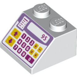 White Slope 45 2 x 2 with Pink, Purple and Yellow Cash Register Pattern