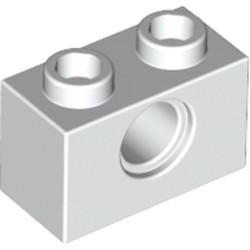 White Technic, Brick 1 x 2 with Hole - used
