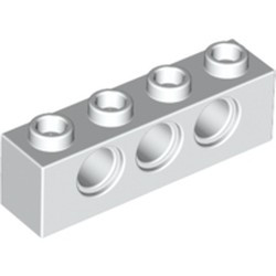White Technic, Brick 1 x 4 with Holes - used