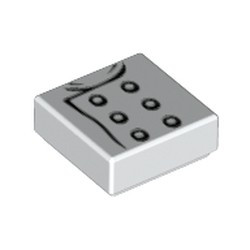 White Tile 1 x 1 with Groove with Chef Jacket Pattern