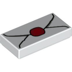 White Tile 1 x 2 with Groove with Envelope with Red Wax Seal and Gray Highlights Pattern - new