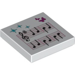 White Tile 2 x 2 with Groove with Music Notes and Butterflies Pattern - new