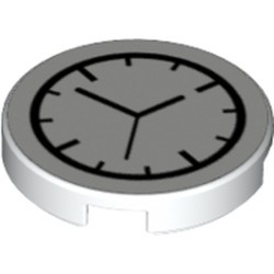 White Tile, Round 2 x 2 with Bottom Stud Holder with Clock Pattern