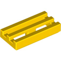Yellow Tile, Modified 1 x 2 Grille with Bottom Groove / Lip - new