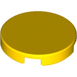 Yellow Tile, Round 2 x 2 with Bottom Stud Holder - new