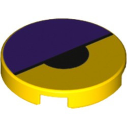 Yellow Tile, Round 2 x 2 with Bottom Stud Holder with Dark Purple Large Semicircle and Black Small Semicircle Pattern (Octi Eye) - new