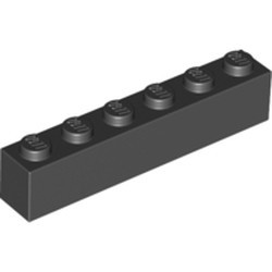 Black Brick 1 x 6