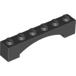 Black Brick, Arch 1 x 6 Raised Arch - used