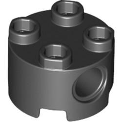 Black Brick, Round 2 x 2 with Pin Holes