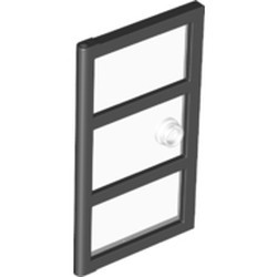 Black Door 1 x 4 x 6 with 3 Panes and Stud Handle with Trans-Clear Glass - new