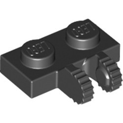Black Hinge Plate 1 x 2 Locking with 2 Fingers on Side and 9 Teeth