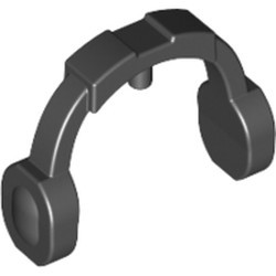 Black Minifigure, Ear Protectors / Headphones / Headset - Thick Arms