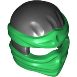 Black Minifigure, Headgear Ninjago Wrap Type 2 with Green Wraps and Knot Pattern - used