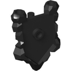Black Minifigure, Shield Pentagonal with Rock Edges - used