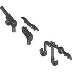 Black Minifigure, Weapon Gun, Pistol Automatic Long Barrel and Round Magazine (Tommy Gun) - new