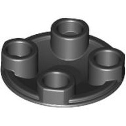 Black Plate, Round 2 x 2 with Rounded Bottom (Boat Stud) - used