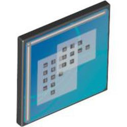 Black Road Sign 2 x 2 Square with Clip with Curved Blue Lines and Small Black Squares Pattern (Computer Screen) - used