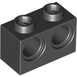Black Technic, Brick 1 x 2 with Holes - used