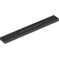 Black Tile 1 x 8 with 'Lamborghini' Pattern - new