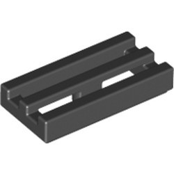 Black Tile, Modified 1 x 2 Grille with Bottom Groove / Lip - new
