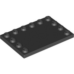Black Tile, Modified 4 x 6 with Studs on Edges - used