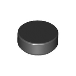 Black Tile, Round 1 x 1 - new