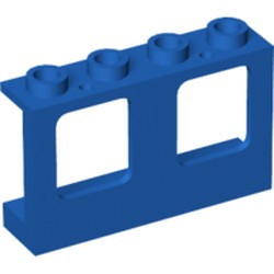 Blue Window 1 x 4 x 2 Plane, Single Hole Top and Bottom for Glass
