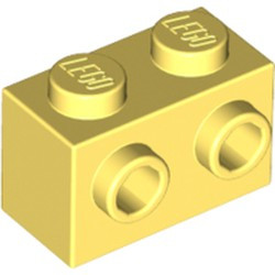 Bright Light Yellow Brick, Modified 1 x 2 with Studs on 1 Side