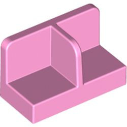Bright Pink Panel 1 x 2 x 1 with Rounded Corners and Center Divider
