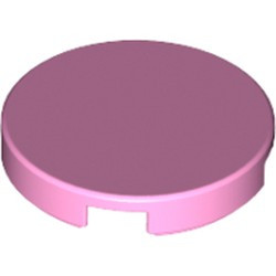 Bright Pink Tile, Round 2 x 2 with Bottom Stud Holder - new