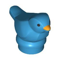 Dark Azure Bird, Small with Black Eyes and Bright Light Orange Beak Pattern