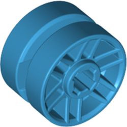 Dark Azure Wheel 14mm D. x 9.9mm with Center Groove, Fake Bolts and 6 Double Spokes